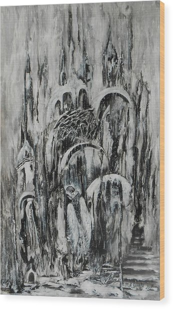 Original Abstract Black And White Painting The Return Of The Angel  Wood Print by Natalya Zhdanova