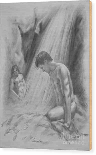Original Charcoal Drawing Art Male Nude By Twaterfall On Paper #16-3-11-16 Wood Print