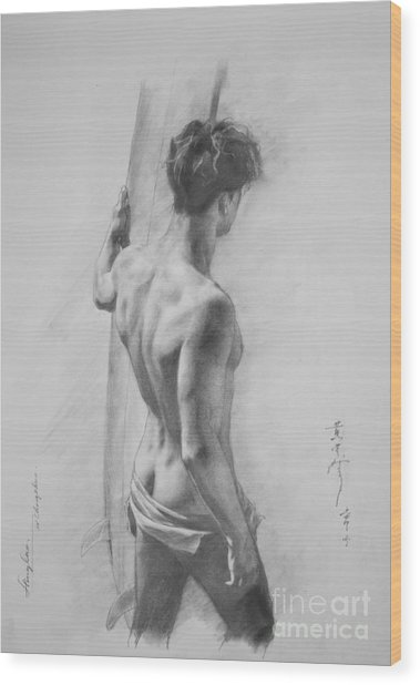 Original Charcoal Drawing Art Male Nude  On Paper #16-3-11-12 Wood Print