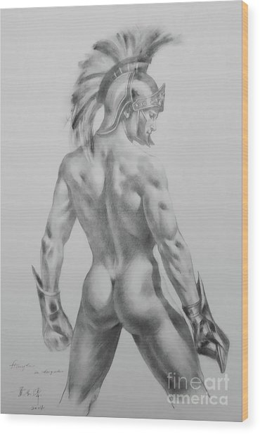 Original Drawing Sketch Charcoal Chalk Male Nude Gay Interst Man Art Pencil On Paper -0040 Wood Print