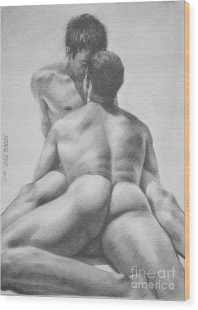 Original Drawing Sketch Charcoal Male Nude Gay Interest Man Art  Pencil On Paper -0028 Wood Print