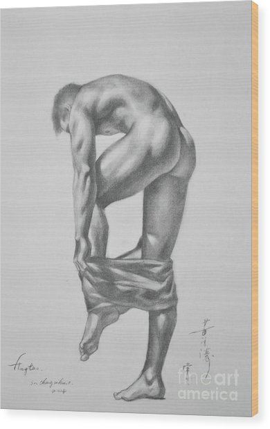 Original Drawing Sketch Charcoal Pencil Gay Interest Man Art  On Paper #11-17-14 Wood Print