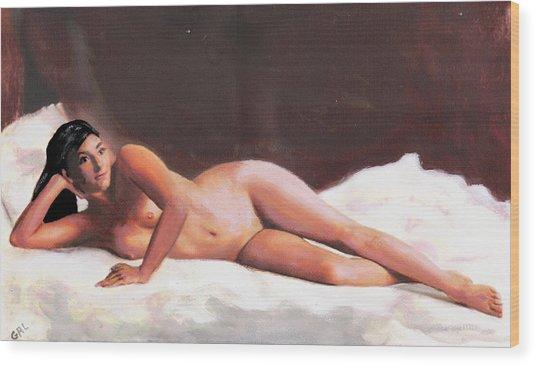 Original Fine Art Female Nude Reclining On White Wood Print by G Linsenmayer