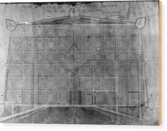 Original French Quarter Map Wood Print