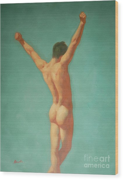 Original Male Nude Oil Painting Gay Boy Art On Linen-0022 Wood Print