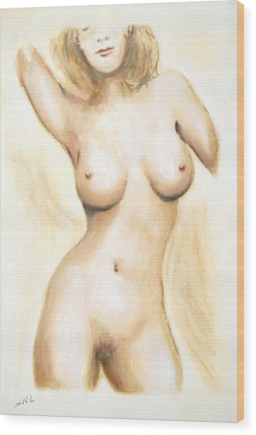 Original Painting Of A Nude Female Torso Wood Print