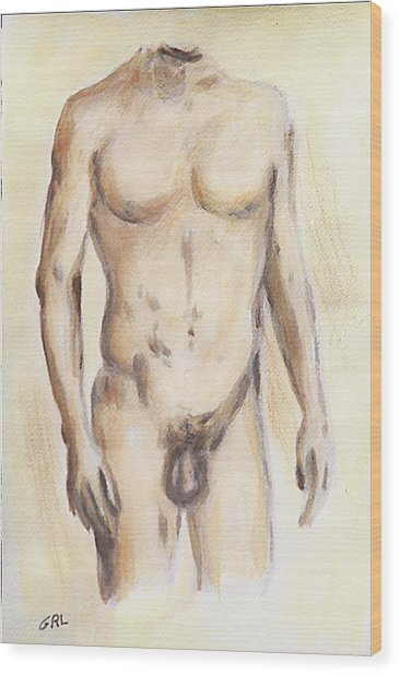 Original Painting Of A Nude Male Torso Wood Print