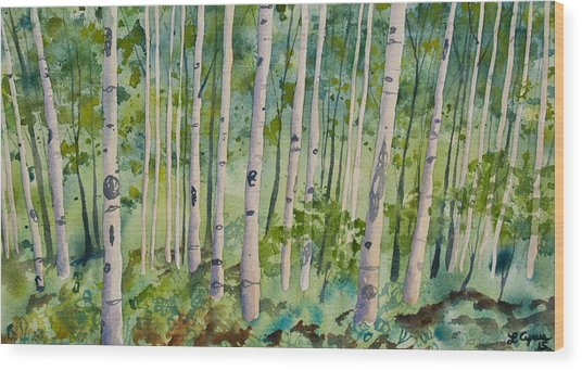 Original Watercolor - Summer Aspen Forest Wood Print