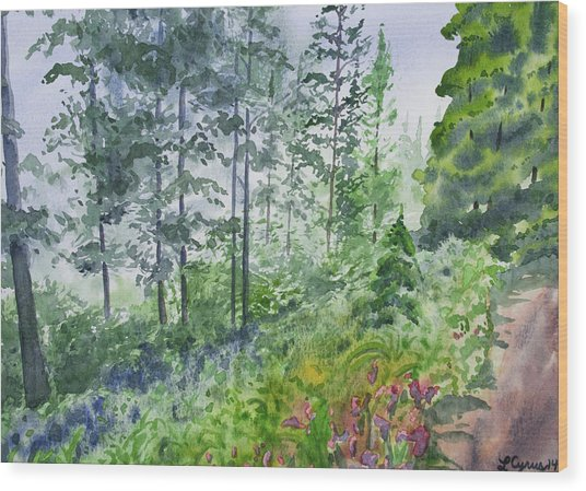 Original Watercolor - Summer Pine Forest Wood Print