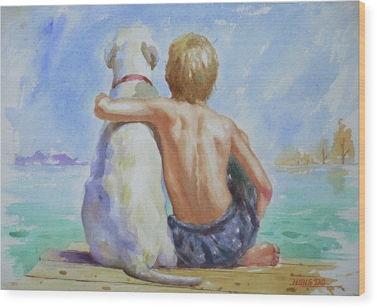 Original Watercolour Painting Nude Boy And Dog On Paper#16-11-18 Wood Print