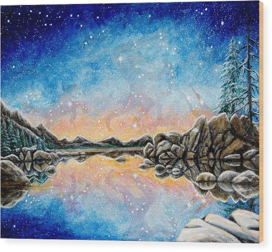 Orion Over Tahoe Winter Wood Print