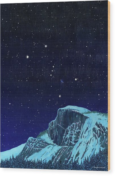 Orion Over Yosemite Wood Print