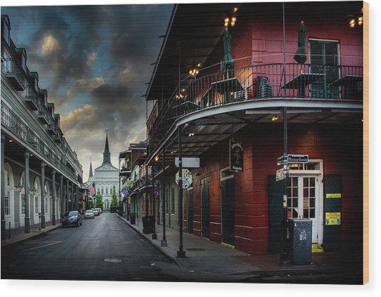 Orleans Street To St Louis Cathedral Wood Print
