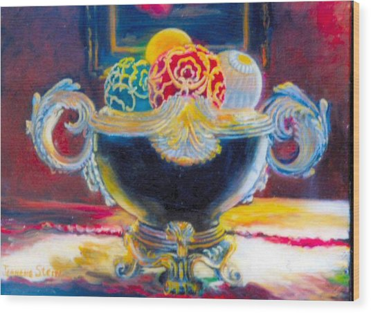 Ornate Black Bowl Wood Print by Jeanene Stein