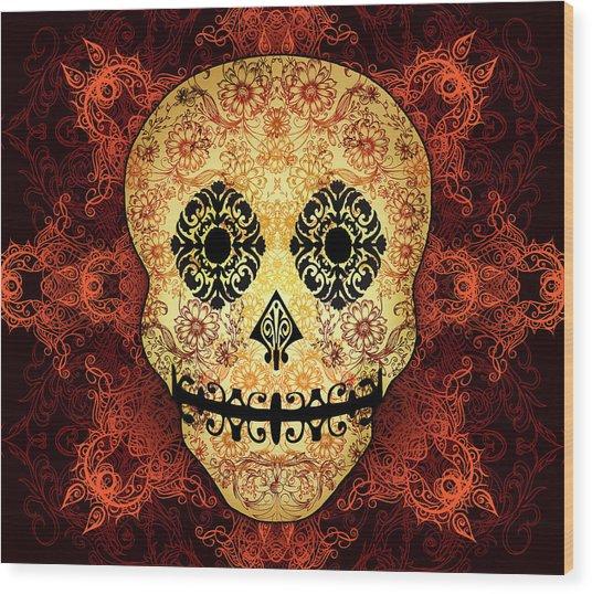Ornate Floral Sugar Skull Wood Print
