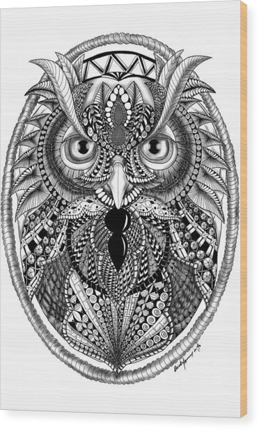 Ornate Owl Wood Print