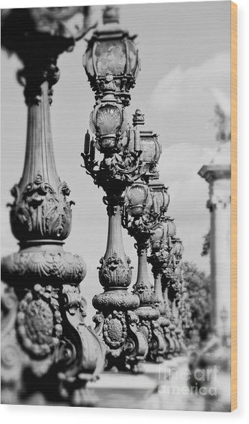 Ornate Paris Street Lamp Wood Print