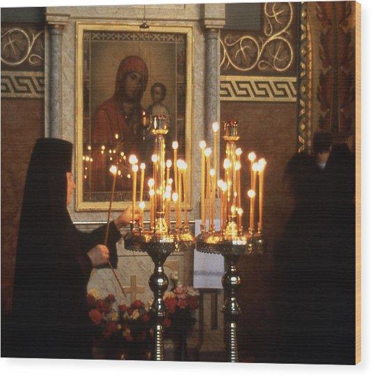 Orthodox Church Georgia Nuns Lighting Prayer Candles Wood Print by Richard Singleton