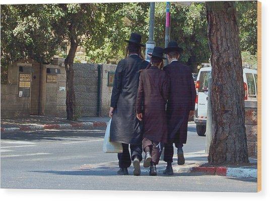 Orthodox Jews In Jerusalem Wood Print by Susan Heller
