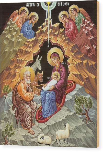 Orthodox Nativity Scene Wood Print