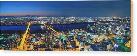 Osaka Night Rooftop View Wood Print