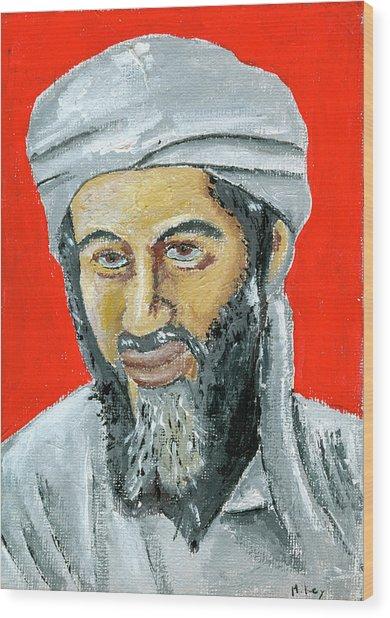 Osama Wood Print by Mikey Milliken