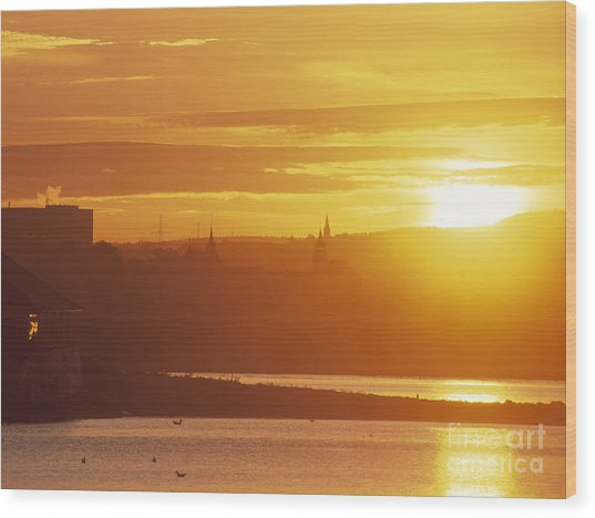 Oslo Sunrise Wood Print by Kim Lessel