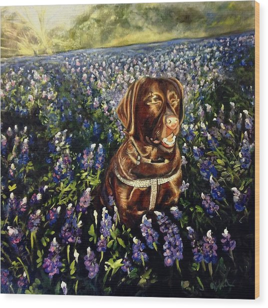 Otis In The Bluebonnets Wood Print