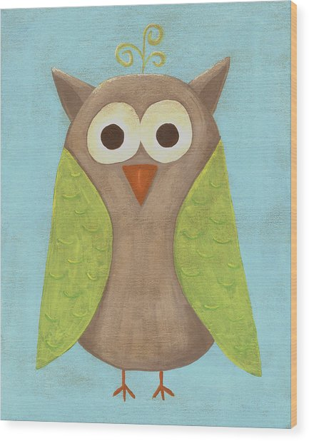 Otis The Owl Nursery Art Wood Print