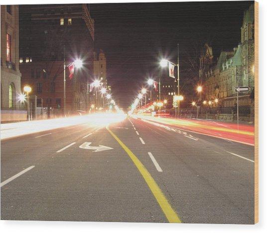 Ottawa Street At Night Wood Print by Richard Mitchell