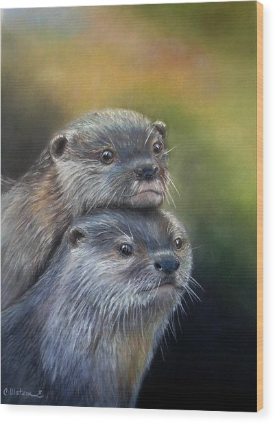 Otter Be Two Wood Print