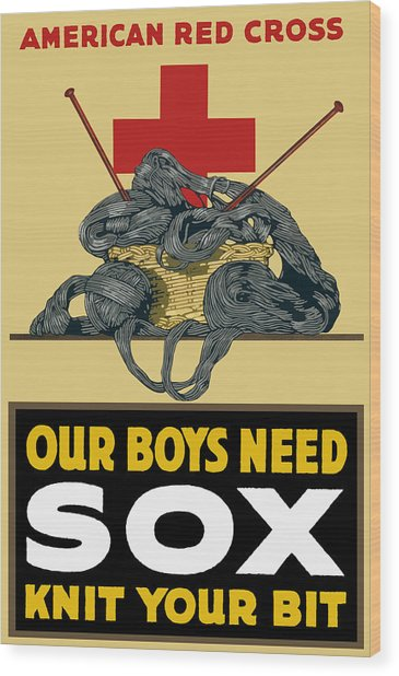 Our Boys Need Sox - Knit Your Bit Wood Print