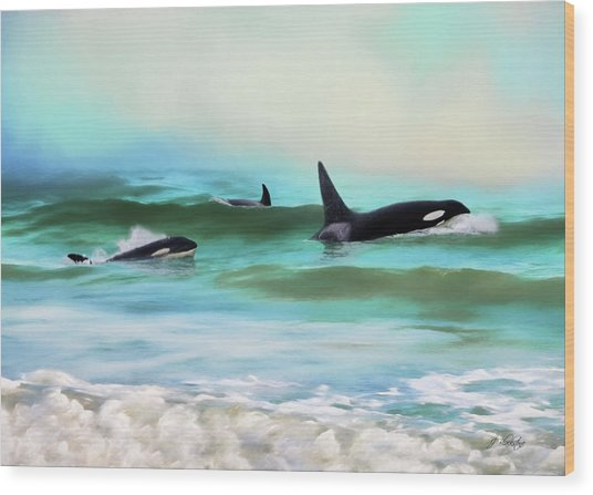 Our Family - Orca Whale Art Wood Print