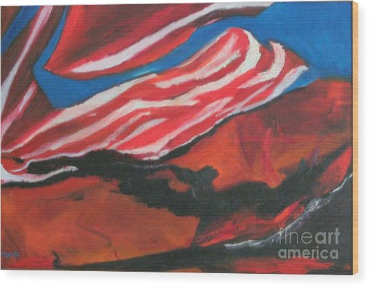 Our Flag Their Oil Wood Print by Patrick Mills
