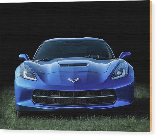 Blue 2013 Corvette Wood Print