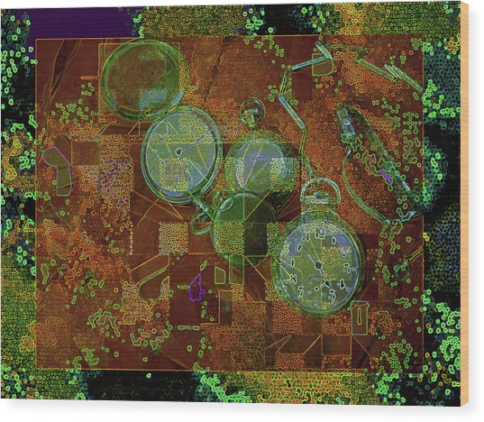 Wood Print featuring the mixed media Out Of Time 5  by Lynda Lehmann