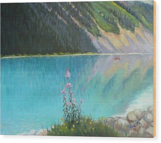 Out On Lake Louise Wood Print
