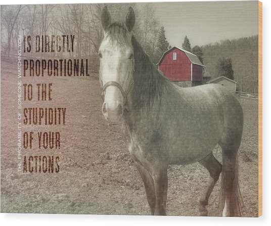 Out To Pasture Quote Wood Print by JAMART Photography