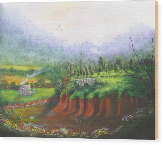 Out West Wood Print by Betty Reineke
