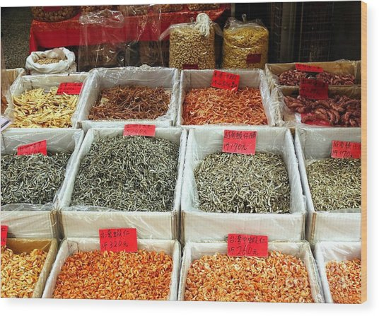 Outdoor Market For Dried Seafood Wood Print