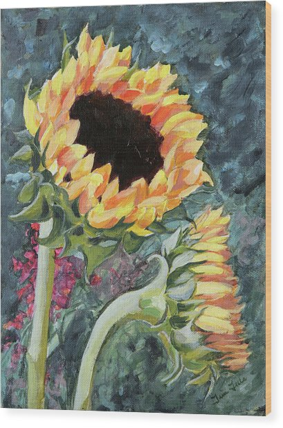 Outdoor Sunflowers Wood Print