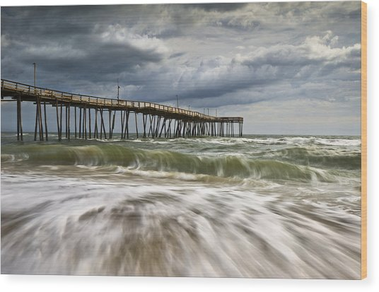 Outer Banks Nc Avon Pier Cape Hatteras - Fortitude Wood Print