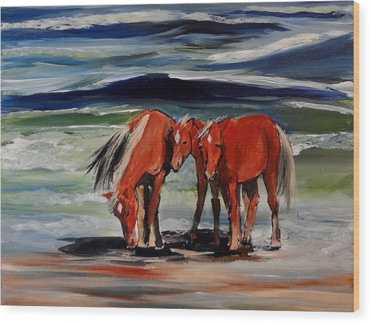 Outer Banks Wild Horses Wood Print