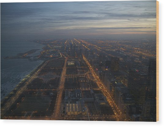 Over Chicago At Dusk Wood Print