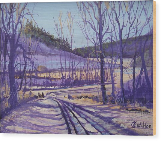 Over The Bridge And Through The Woods Wood Print by Judy Fischer Walton