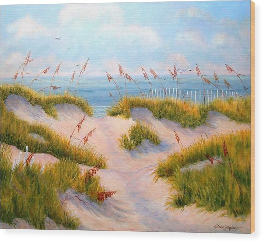 Over The Dunes Wood Print by Elaine Bigelow