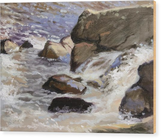 Over The Edge- Strong Falls Wood Print by Larry Seiler