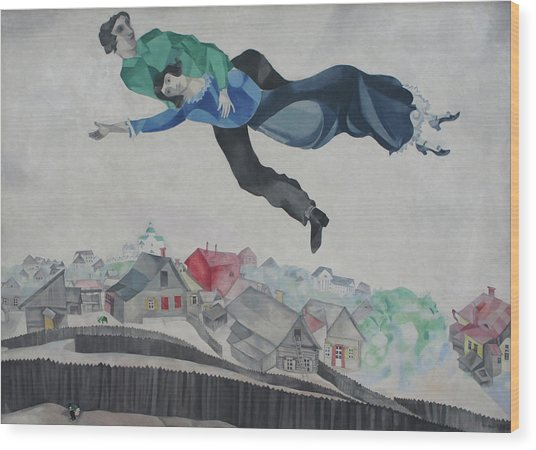 Over The Town Wood Print by Marc Chagall