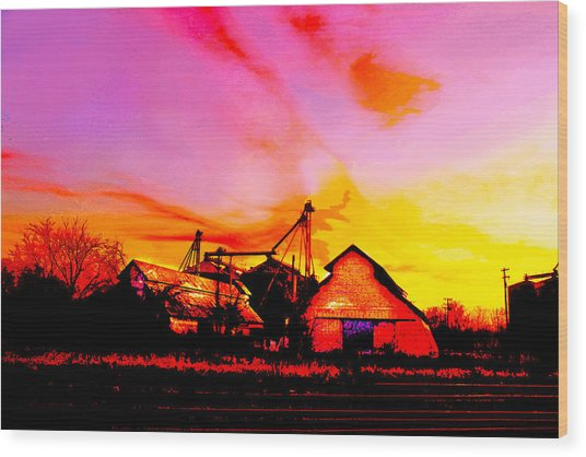 Over The Tracks --somewhere In Texas Wood Print