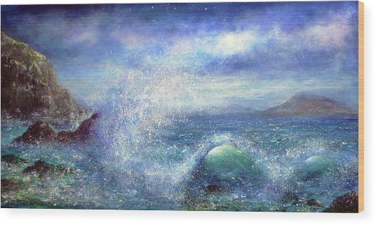 Over The Waves Wood Print by Ann Marie Bone